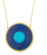 Jennifer Meyer Lapis Inlay and Turquoise Center Evil Eye Necklace - Yellow Gold