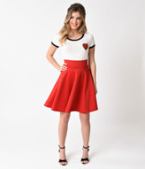 Unique Vintage Red High Waist Stretch Skater Circle Skirt