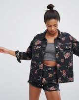 Monki Rose Print Denim Jacket