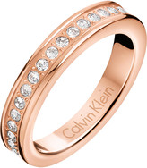 Calvin Klein Hook rose gold-tone pavé crystal ring