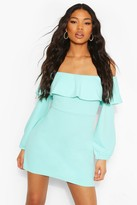 boohoo Off The Shoulder Puffball Shift Dress