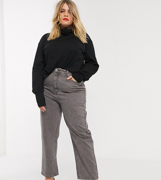 Asos DESIGN Curve Florence authentic straight leg jeans in dark gray