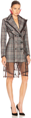 Y/Project Condom Tuxedo Coat in Grey Check | FWRD