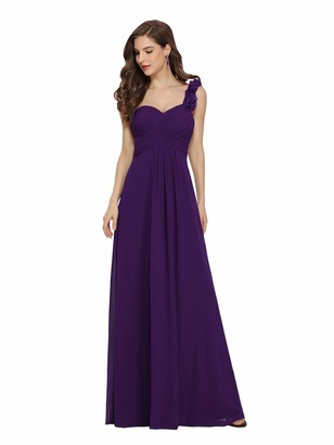 Ever Pretty Ever-Pretty Women's Floor Length One Shuolder Empire Waist A Line Chiffon Bridesmaid Dresses Dark Purple 14UK