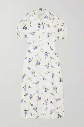 Les Rêveries Cutout Floral-print Cotton-poplin Shirt Dress - White