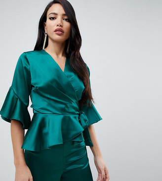 John Zack Tall wrap front satin ruffle blouse in green