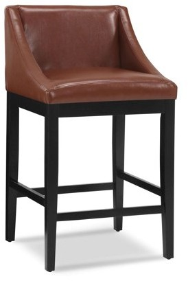 "Dhi DHI Oxford Swoop Back Upholstered 30"" Stool, Brown Faux Leather"