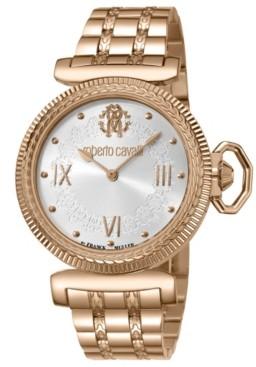 Roberto Cavalli Women's Swiss Quartz Rose Gold Stainless Steel Bracelet Watch, 38mm