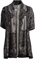Glam Black & Gray Damask Open Cardigan - Plus