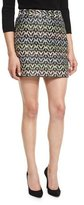 Milly A-Line Chevron Brocade Modern Mini Skirt, Multi