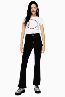 Topshop TALL Black Corduroy Flare With Zip Pants