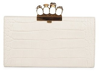 Alexander McQueen Punk Four-Ring Croc-Embossed Leather Flat Pouch