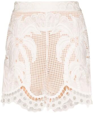 Zimmermann Floral Lace Shorts