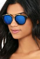 LuLu*s Retro Me, Oh My Black and Blue Mirrored Sunglasses