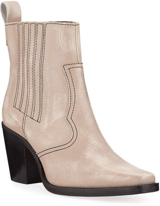 Ganni Leather Western Pull-On Booties