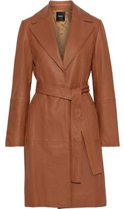 Theory Belted Leather Coat
