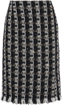 Oscar de la Renta Frayed Sequin-embellished Tweed Skirt