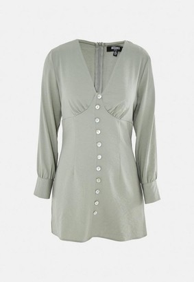 Missguided Sage Button Front Shirt Dress
