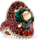 Gucci Gold-plated, Swarovski Crystal And Faux Pearl Ring - 16