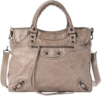 Balenciaga Weekender Beige Leather Handbags
