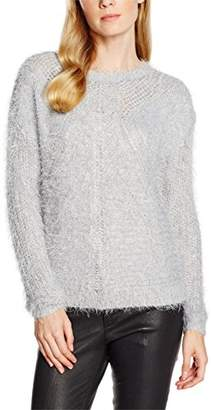 Naf Naf Women's CHNU26 Round Collar Long Sleeve Jumper - Grey - UK 14
