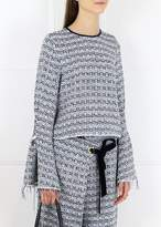Mother of Pearl Bell Sleeve Top Navy White