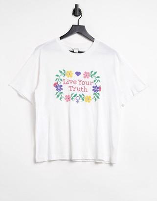 Monki slogan t-shirt in white