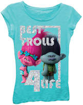 Asstd National Brand Trolls Girls' Best Trolls 4 Life Short Sleeve Graphic T-Shirt with Silver Glitter