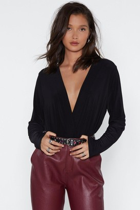 Nasty Gal Womens V Right There Plunging Bodysuit - Black - 6