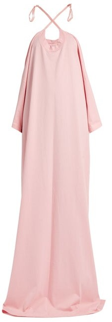Vetements X Hanes Logo Print Cotton Jersey Maxi Dress - Womens - Pink