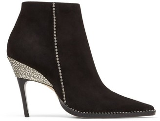 Jimmy Choo Brecken 100 Leather Crystal-Trim Ankle Boots