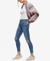 Free People Cotton Ripped Medium Blue Wash Skinny Jeans