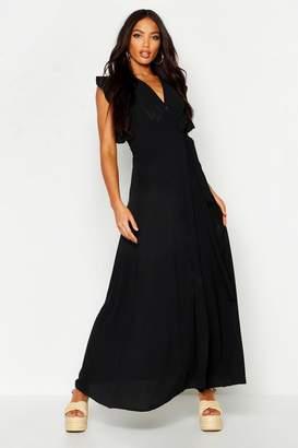 boohoo Woven Frill Sleeve Wrap Maxi Dress