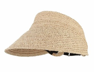 CHENNUO Visor Hat Women Empty Top Straw Hat Foldable Summer Golf Sports Beach Sun Visor Cap (Beige)