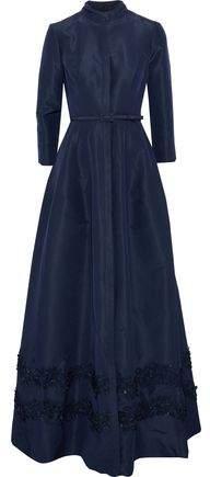 Carolina Herrera Embellished Silk-Faille Gown