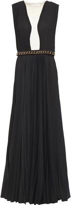 Victoria Beckham Wool Twill-paneled Pleated Georgette Maxi Dress