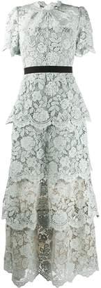 Self-Portrait Flower Lace Tiered Dress