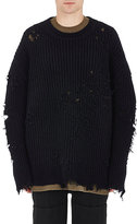 "Yeezy Men's ""Destroyed"" Rib-Knit Sweater-BLACK"