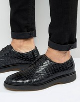 Asos Derby Shoe In Black Croc