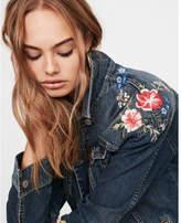 Express floral embroidered denim boyfriend jacket