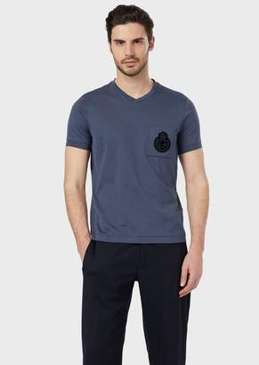 Giorgio Armani Jersey T-Shirt In Satin Cotton With Crest Applique