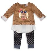 Little Lass Baby's Metallic Print Top and Denim Leggings Set