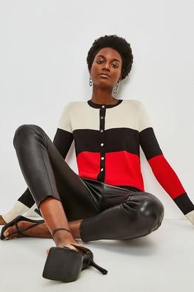 Karen Millen Colour Block Knitted Cardigan
