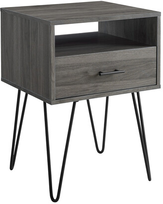 Hewson 18In Modern Single Drawer Hairpin Leg Side Table