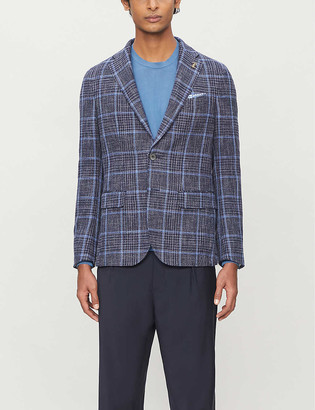 Pal Zileri Tartan-print regular-fit cotton-blend blazer