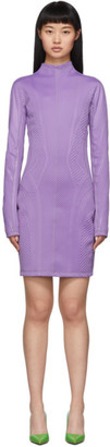 Thierry Mugler Purple Scuba Turtleneck Dress