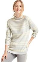 Gap Merino wool blend stripe mock neck sweater
