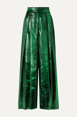 PatBO Metallic Velvet Wide-leg Pants - Dark green