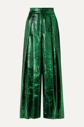 PatBO Metallic Velvet Wide-leg Pants - Dark green