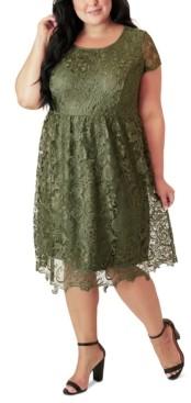 Maree Pour Toi Plus Size Lace Fit & Flare Dress